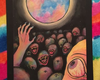 """LOCAL PICKUP ONLY Matted Print of Gouache """"Fear of the Full Moon"""" Painting"""