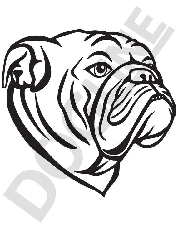 English Bulldog Vinyl Sticker Dogline Custom