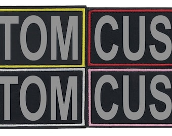 Personalized Set Or Single CUSTOM Fabric Patches with 3M Reflective Letters with VELCRO Brand Backing with Embroidered Border