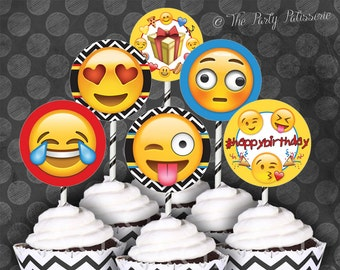 EMOJI Birthday Party Cupcake Circles/Toppers / Instant Download / Digital File / Printable