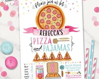 Pajama Party Pizza Making Pizza Party Birthday Invitation Pizza Party Invite Custom Printable Sleepover Party Digital File