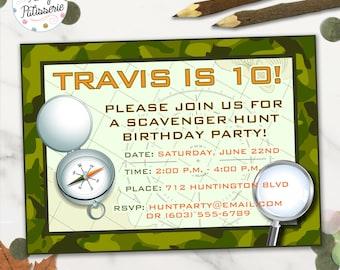 Scavenger Hunt Birthday Party Invitation, Camo Invitation, Digital File, Printable, Treasure Hunt Party