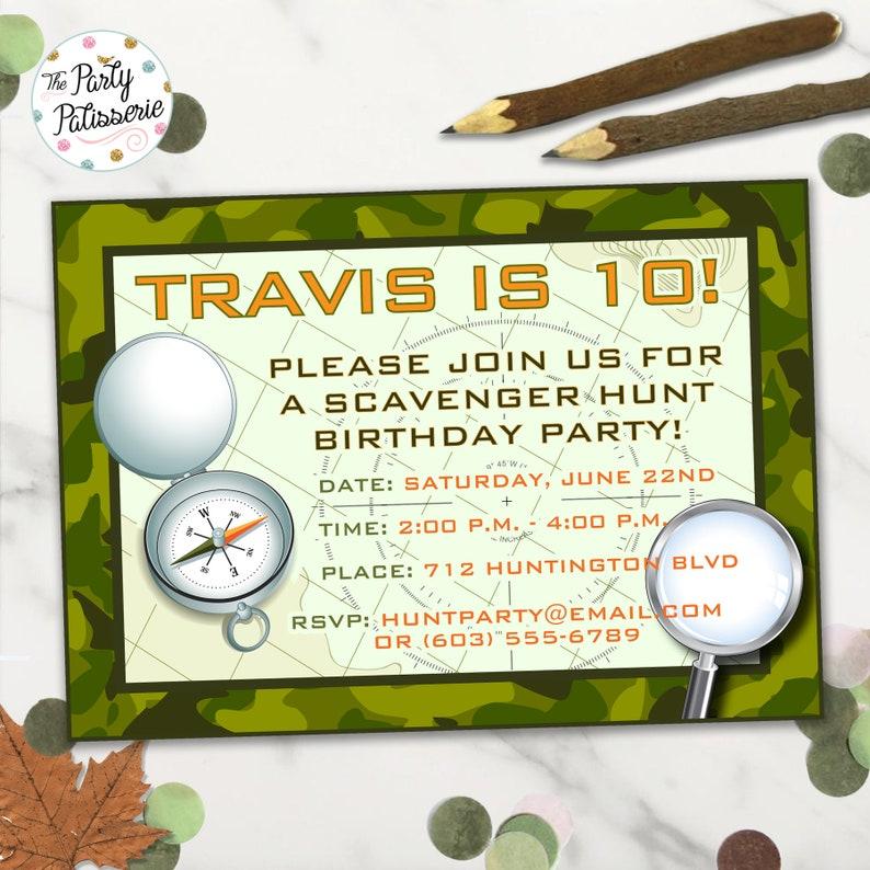 Treasure Hunt Party Camo Invitation Digital File Printable Scavenger Hunt Birthday Party Invitation