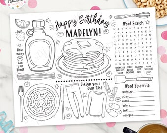 Pancakes and Pajamas Coloring Placemat, Personalized, Digital File, Printable, Custom, Pancake Party, PJ Party, Sleepover, Activity Mat