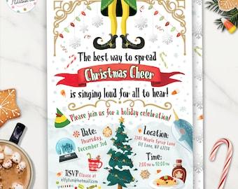 Christmas Party Invitation, Christmas Birthday Invitation, Digital File, Printable, Custom, Holiday Party, Holiday Birthday