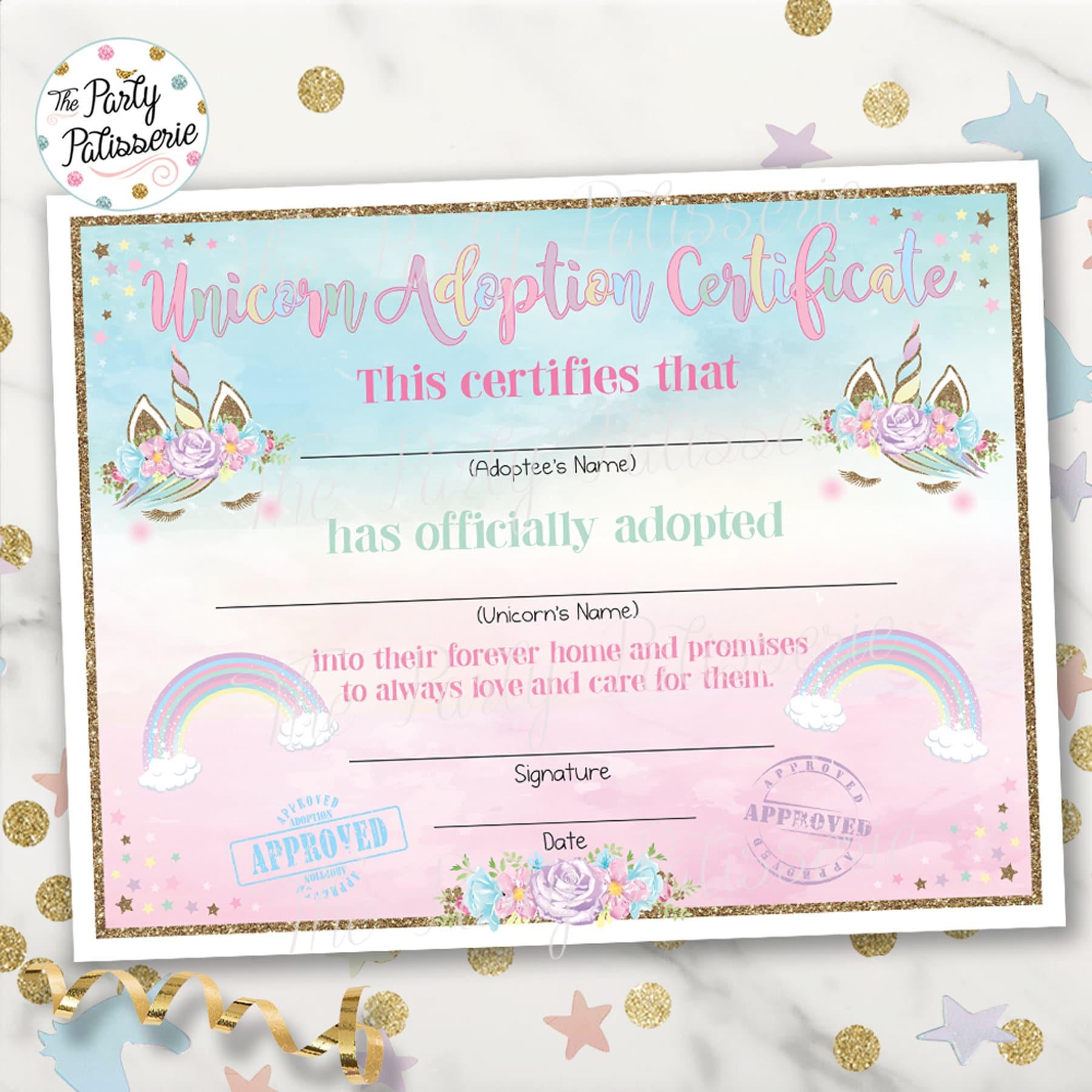 Unicorn Adoption Certificate Unicorn Birthday Printable Etsy