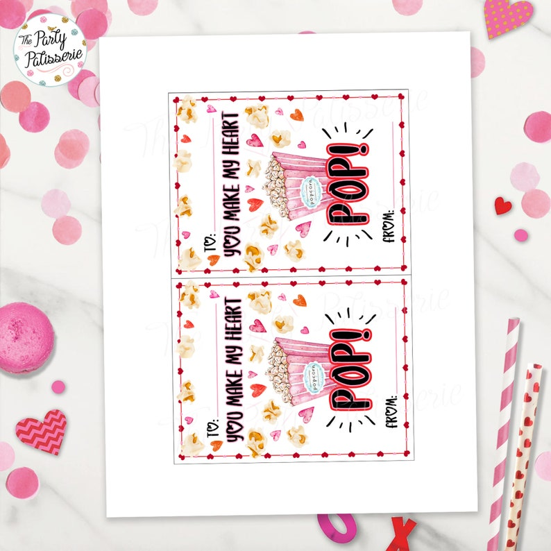 Favor Tag Valentine Favor Instant Download Printable Valentine Treat Valentine Party Digital File Valentine Popcorn Tag 4.25x5.5