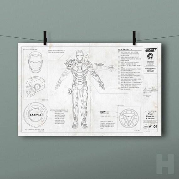 Iron Man Blueprint Marvel Tony Stark Comics Movie Suit