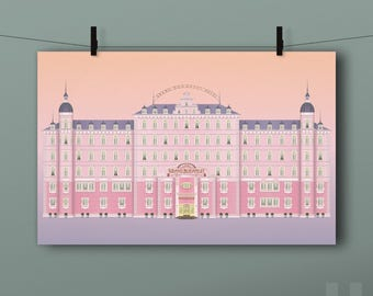 The Grand Budapest Hotel Print - Wes Anderson, Gustave, Zero, Lobby Boy, Agatha, Illustration, Movie, Poster