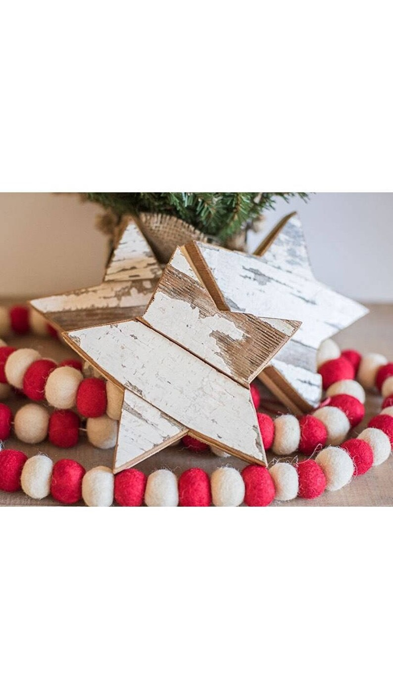 White Star Shabby Chic Decor Chippy White Christmas Decor image 0