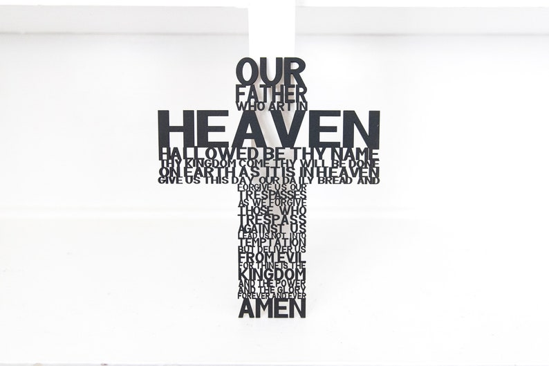 Wood Cross Lord's Prayer Wall Decor Sign Our Father image 0