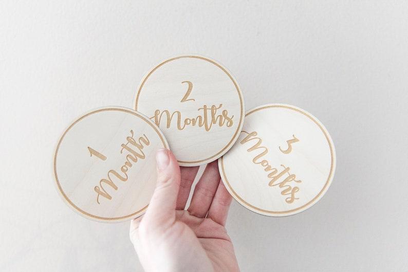 New Baby Gift Wooden Age Milestones Baby Milestone Cards image 0