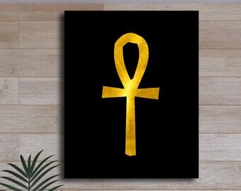 Ankh Egyptian Hieroglyphic Gold Black White Print Ancient Septre of the Pharaoh Symbol Wall Decor Printable Digital Art / Instant Download