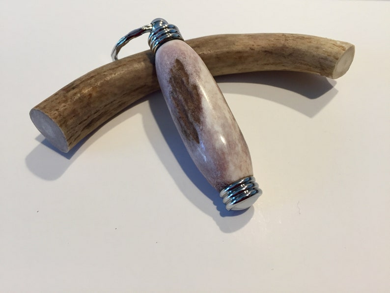 Deer Antler Keychain - Chrome, Hidden Compartment