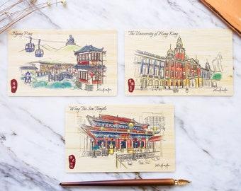 Hong Kong Urban Sketch Special Natural Bamboo Postcards – Cultural Sights Serie