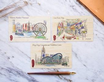 Hong Kong Urban Sketch Special Natural Bamboo Postcards - Hong Kong Piers and Night Market