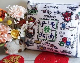 """Personalized """"How to make Mahjong"""" Good Luck Throw Pillow with Insert, Hand-drawn illustration"""
