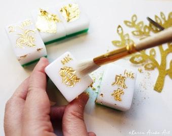 NEW! Hong Kong Gold Leaf Hand-carved Mahjong - Dragon Genuine Gold Leaf 99%, Unique Cultural Gift