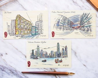 Hong Kong Urban Sketch Special Natural Bamboo Postcards – Victoria Harbour, The Pawn, PMQ