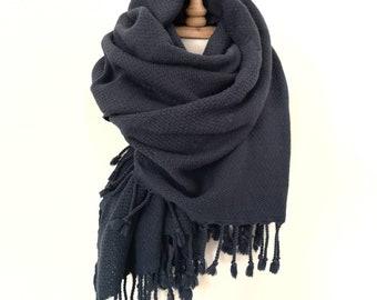 Dark Blue Overized Scarf White Check Stitch Long Wide Large Wrap Shawl Tassels