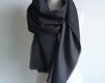 0da52e064 Fall Wool Scarf - Black Grey Wool Shawl - Men Wool Scarf - Thin Luxury Pure  Wool Silk Scarf - Trendy Men Accessories - Wool Clothing