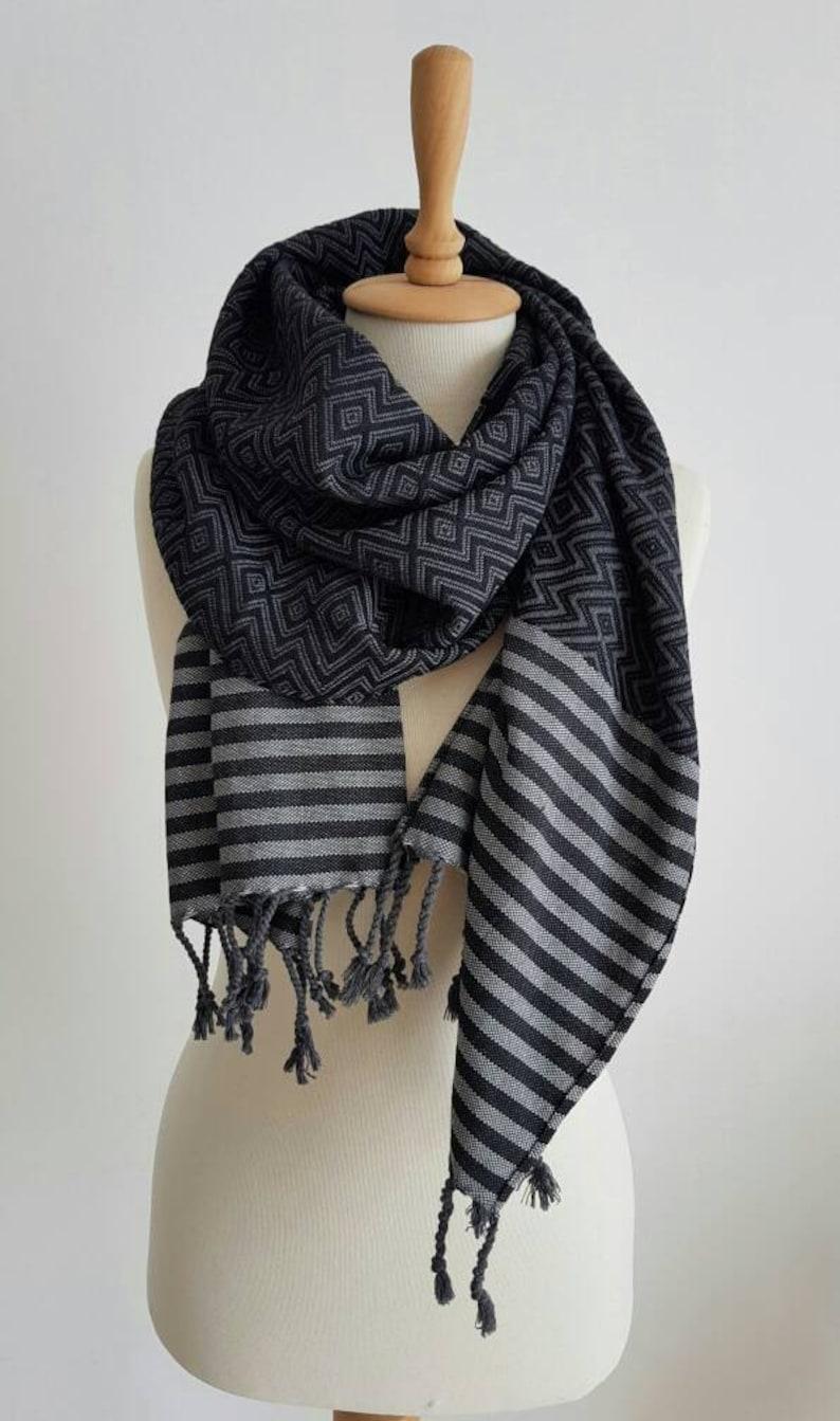 eedaff966bf Trendy Tassel Shawl Black Grey Oversized Scarf Fashion