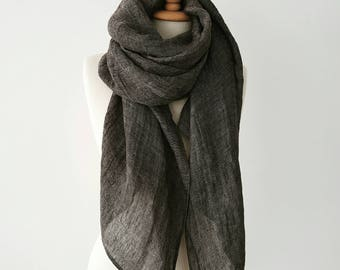 Oversized Linen scarf - Gray Fall scarves - Rustic scarves - Big Linen Shawl - Gray Men scarf - Organic flax clothing - Non-fringed scarf