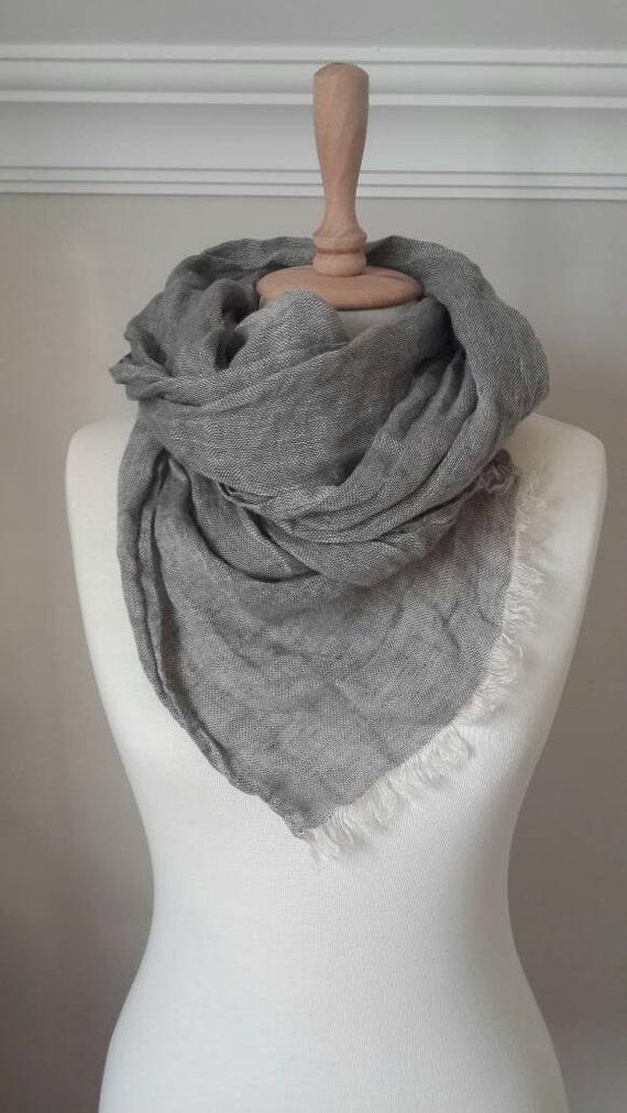 Foulard en lin gris lin wrap accessoires pour en lin Lin   Etsy f49d59f701b