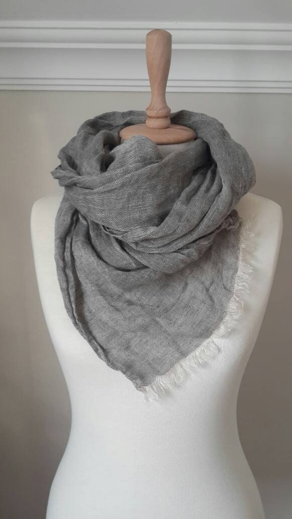 Grey Linen scarf - Linen wrap - Grey Shawl- Organic Flax scarf - Linen Woman Scarf - Men Scarf - Unisex Linen accessories - Summer Wrap