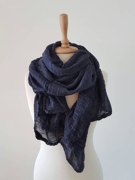 Foulard bleu indigo coton foulards Style Bohème Wrap   Etsy 02f5ce63e64