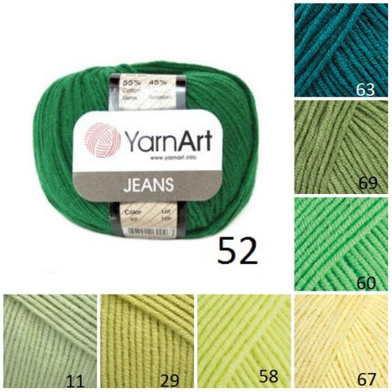 YarnArt JEANS verde patrón hilado tejido de hilo de algodón