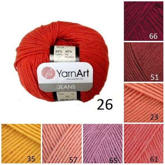 YarnArt JEANS hilado del patrón amarillo naranja rojo hilo | Etsy