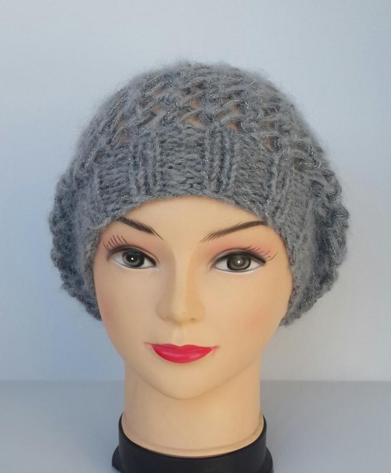Hat Beret Hand knit hat Women beanie Warm hat Wool hat  a9d765d89814