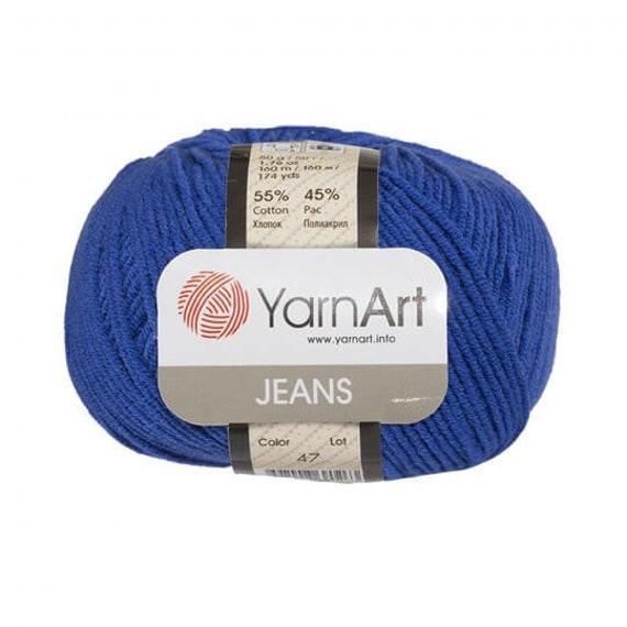 YarnArt JEANS blaues Muster Garn 55 % Baumwolle Häkelgarn | Etsy