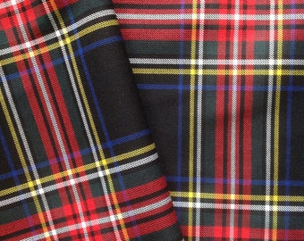 "Black Stewart Tartan Scottish Napkins 17"" x 17"" Set of 6"