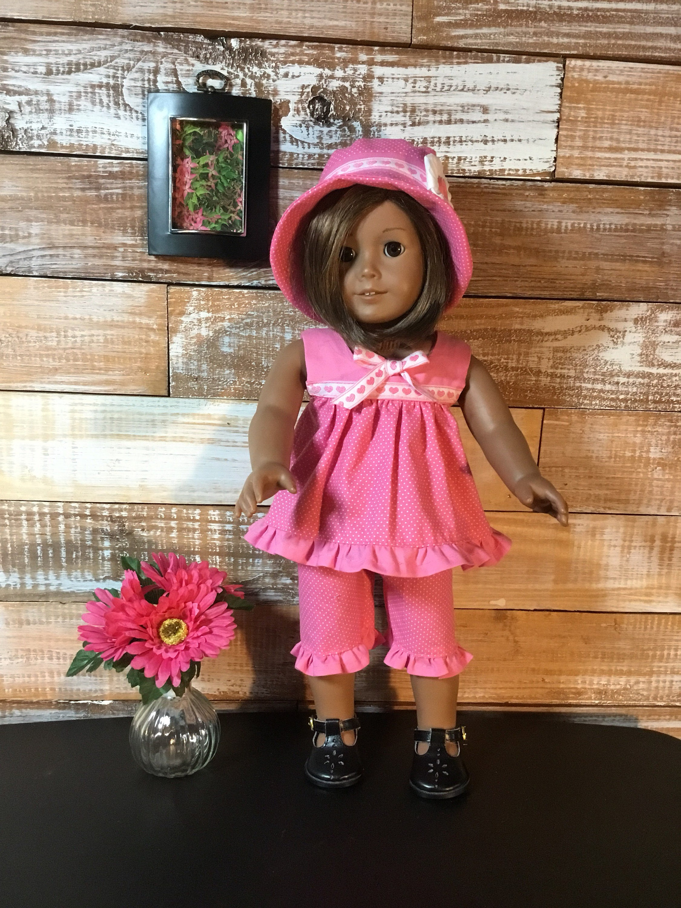 b6c5e377be1 Pink dotted capri set and hat fits American Girl or other