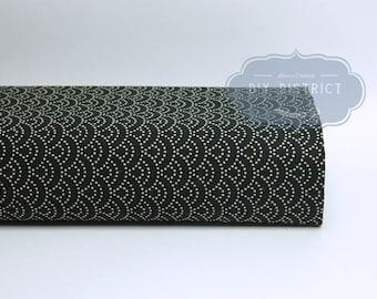 Fabric: Seigaiha dotted black background - fabric Japanese fabric Japanese fabric: Seigaiha, traditional Japanese Seikaiha fabric pattern