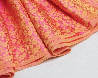 Yellow pink silk brocade - 50cm, yellow brocade, pink brocade, yellow brocade fabric, yellow silk fabric, pink evening brocade