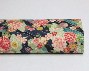 Japanese peony fabric in the clouds navy blue background - 50cm, Japanese fabric, Japanese fabrics, peony, peony flower, blue peony