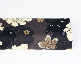 Neko black cat pattern fabric and brown background flowers - 50cm, neko, pink Japanese fabric, black cat pattern fabric, black cat pattern