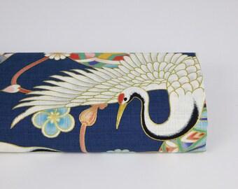 Fabric Crane balls Terami Dobby blue - 50cm, Japanese fabrics, Japanese bird fabric, birds printed fabric, crane pattern fabric, Japanese crane