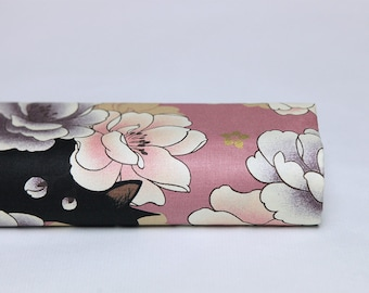 Japanese fabric neko cat pattern and peony flowers on pink background - 27cm x 53cm, neko, neko black cat, black cat pattern fabric, black cat pattern