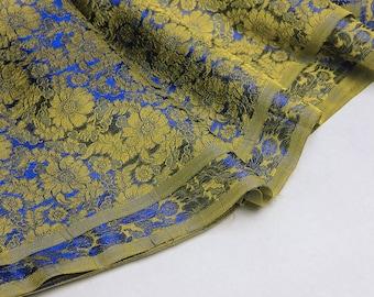 King blue and yellow brocade - 50cm, silk brocade, brocade, flower brocade, king blue brocade, brocade fabric, blue brocade fabric, yellow silk