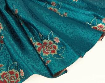 Broon flower broon fabric - 50cm, damask, peony brocade, red peony, peony jacquard, red peony brocade, duck blue brocade