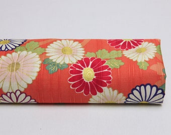 Japanese fabric flower Daisy orange background - Japanese fabric, floral Japanese fabric, margerite