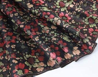 Colorful floral brocade black blue background - 1M, brocade fabrics, flower brocade, floral brocade, black-bottom flower brocade, colorful flower brocade