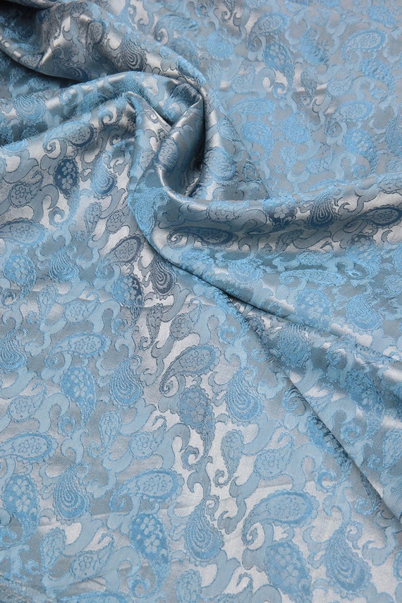 "3m  black SILVER COLOUR PAISLEY METALLIC BROCADE  FABRIC 58/"" WIDE"