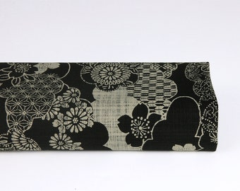 Japanese fabric clouds black background - 50cm, Japanese fabrics, Japanese cloud, traditional Japanese pattern, black Japanese fabric, Sayagata, cloud