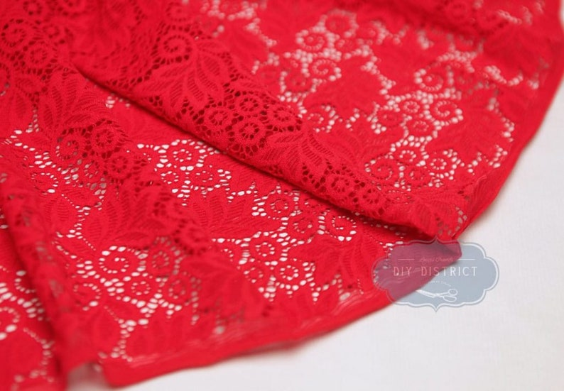 Stretch Lace Fabric Fluorescent Yellow 145cm