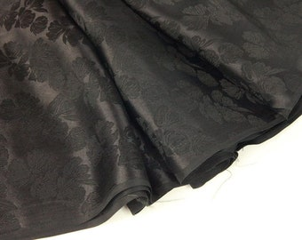 Plain black silk brocade fabric - 50cm, brocade fabric, black brocade, black brocade fabric, black silk, black silk fabric, black silk